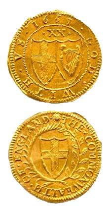 Британская золотая монета 17-го века.