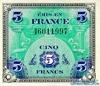5 Франков выпуска 1944 года, Франция. Подробнее...