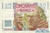 50 Франков выпуска 1946 года, Франция. Подробнее...