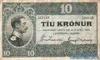 10 Крон выпуска 1928 года, Исландия. Подробнее...