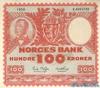 100 Крон выпуска 1956 года, Норвегия. Подробнее...