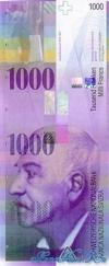 1000 Франков выпуска 1996 года, Швейцария. Подробнее...